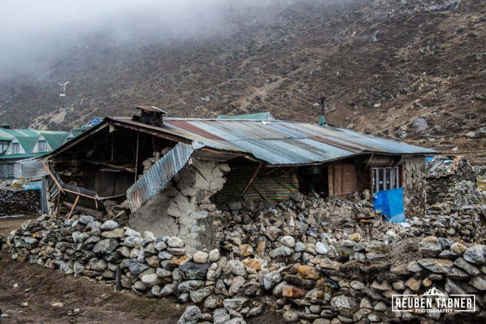 25.04.2015 Pheriche, Khumbu, Nepal. A house destroyed by an earthquake in the Himalayan village of Pheriche in the Everest Region of Nepal.