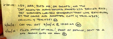 Judges notes closeup