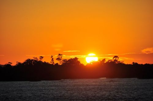 A blazing sunset lights up the Amazon jungle