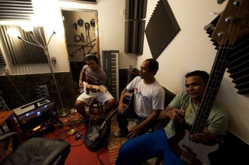 "Our team recording ""Sobrenatural"" (""Supernatural"") in my studio."