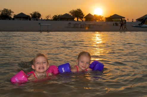 The girls love swimming.  You'd think they were part fish!