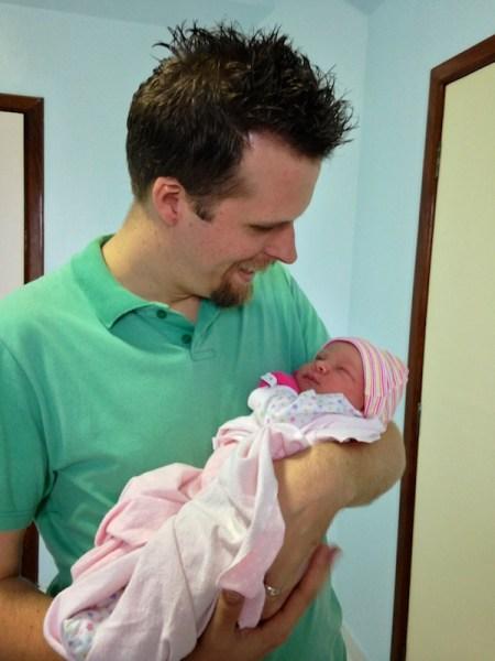 Daddy holding Sarah