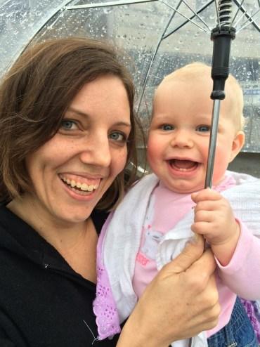Ruth and Sarah enjoying the rain