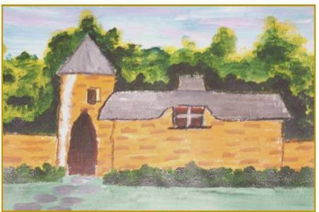 NR 15 Mondschilderen, Titel: Landelijk kasteel, Type: Acryl op papier, Maten inclusief lijst 52 x 74 cm