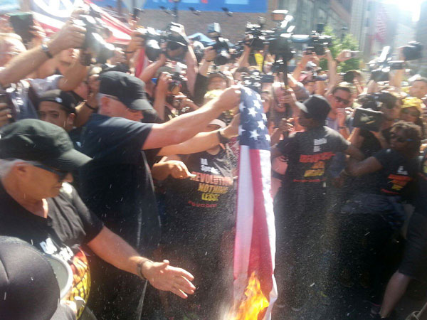Burning the U.S. flag outside the Republican convention