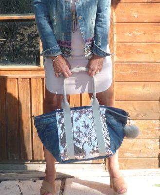 sac en jean à strass