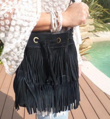 sac daim noir à franges