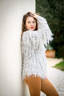 veste chaude gris perle
