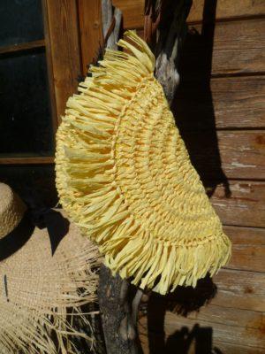 pochette raphia jaune