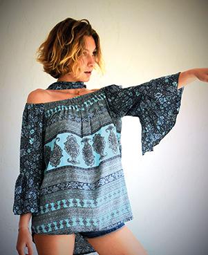 tunique courte turquoise
