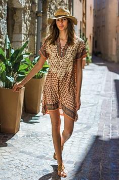 robe tunique soie brodée