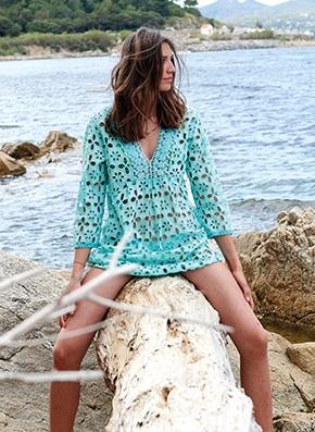 tunique de plage turquoise