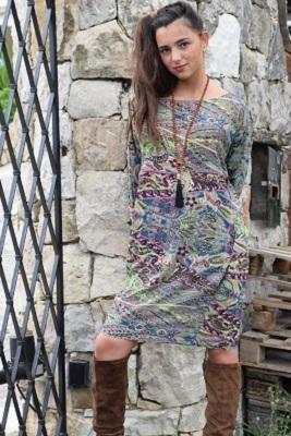 robe soie bordeaux et gris