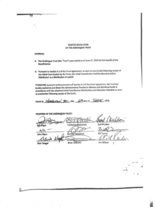 This draft of the Trustee Resolution of the Amdimxxw Trust, leaked in October 2016, shows the signatures of eight out of 10 Gitxsan wilp chiefs. Click here to view the full document.