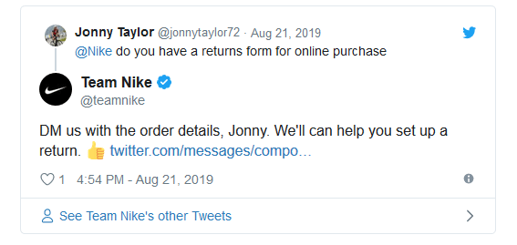 Nike's Twitter Support