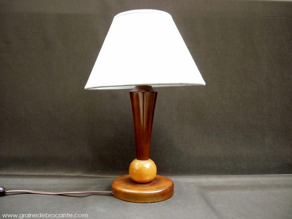 Lampe ancienne en bois annes 40