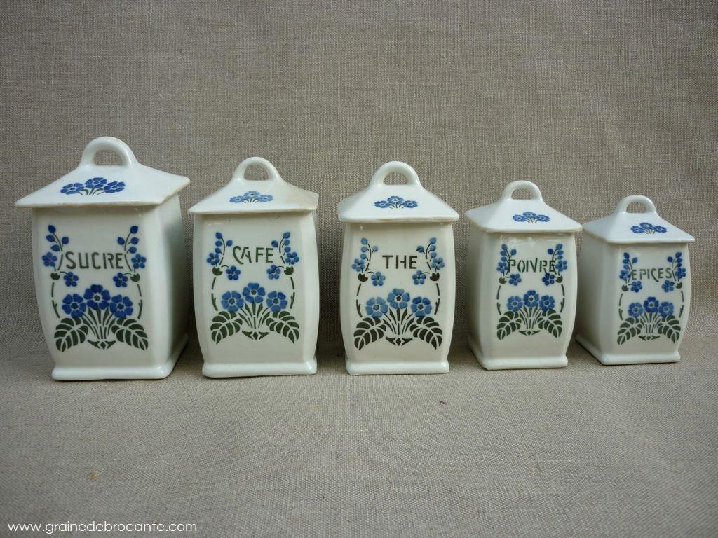 Serie de 5 pots  pices en faence