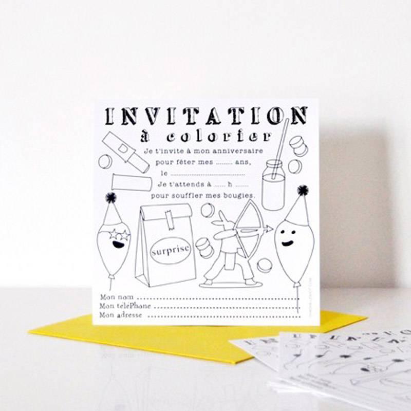 invitations a colorier lot de 8