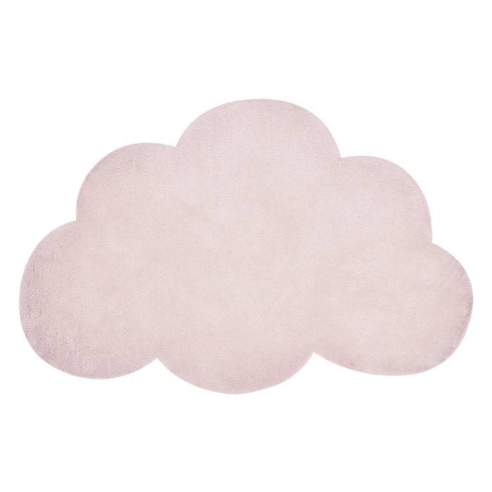tapis coton nuage rose poudre
