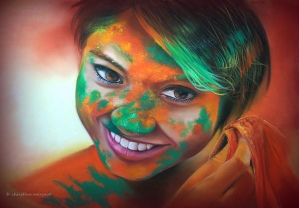 """""""Happy Holi"""" d'après une photo de Rudra Mandal - DISPO"""