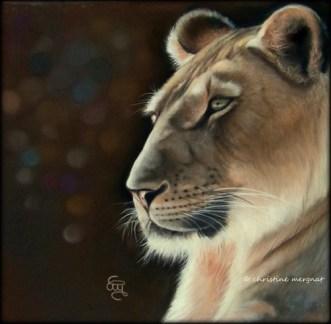 lionne, d'après une photo de Nadège Gascon - DISPO