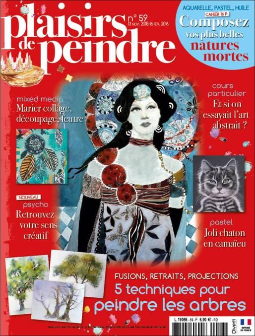 """""""Plaisir de peindre"""" n° 59 du 13/11/2015 (pas à pas du """"chat rempoté"""")"""