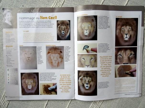 """pas à pas du """"Lion Cécil"""" paru dans le cahier spécial n° 33 du 29/03/2016"""