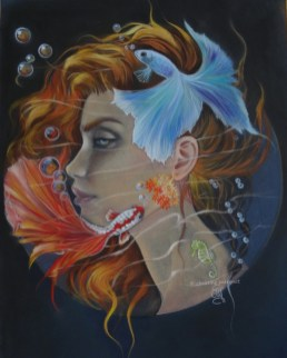 """Téthis"" aqua-pastel format 30 X 40 cm DISPO"