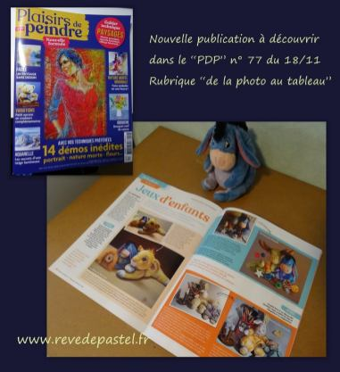 """""""Plaisirs de Peindre"""" n°77 - rubrique : """"de la photo au tableau"""" thème doudous"""