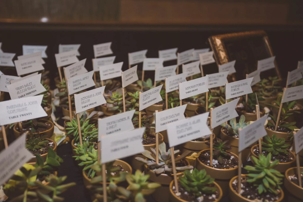 succulent escort cards with name flags, photo by Jaylim Photography