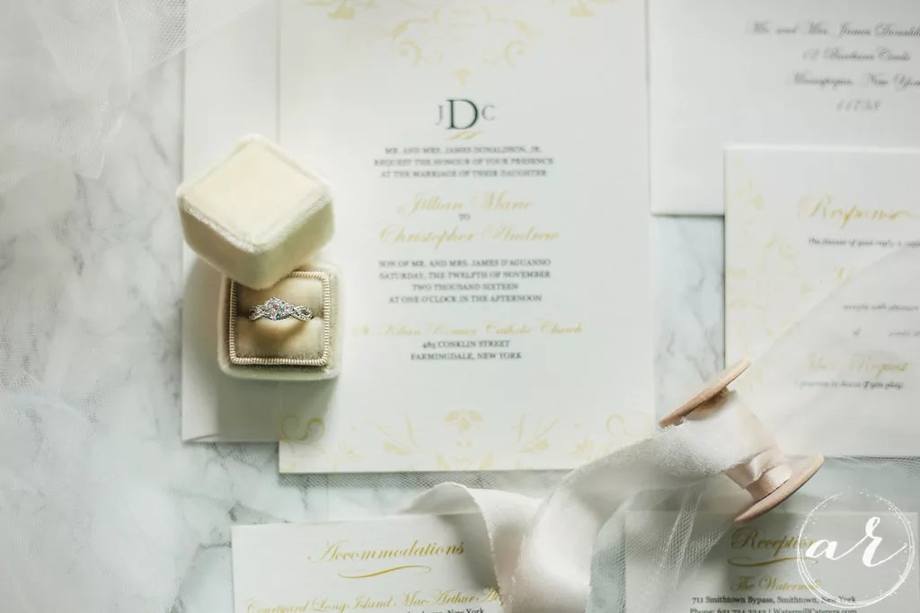 double thick gold and black wedding invitation suite