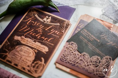 Laser engraved wooden wedding invitation with laser cut rose pocket and postcard insert card | map of long island