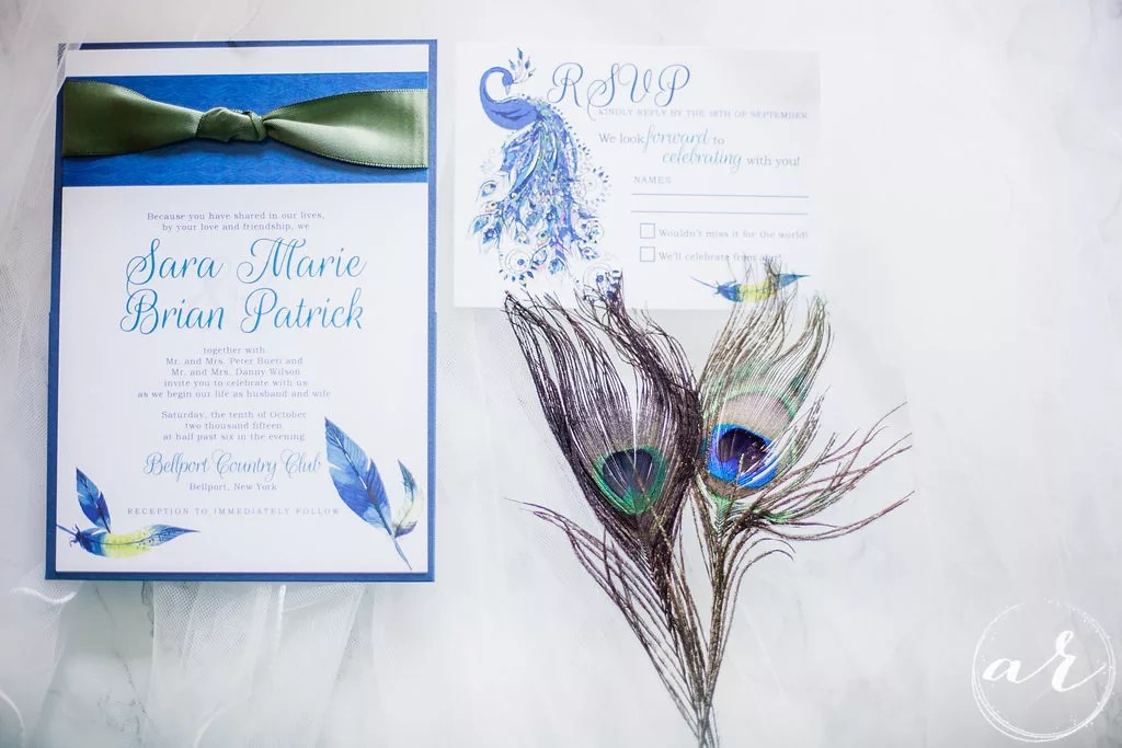 real peacock feather wedding invitations | custom design by revelry + heart | raleigh, nc