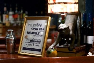 bar signage for wedding, open bar