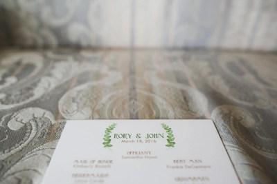 fern wedding program design