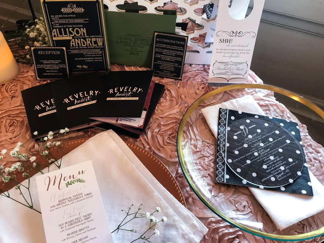 custom menus and tablescapes by revelry + heart