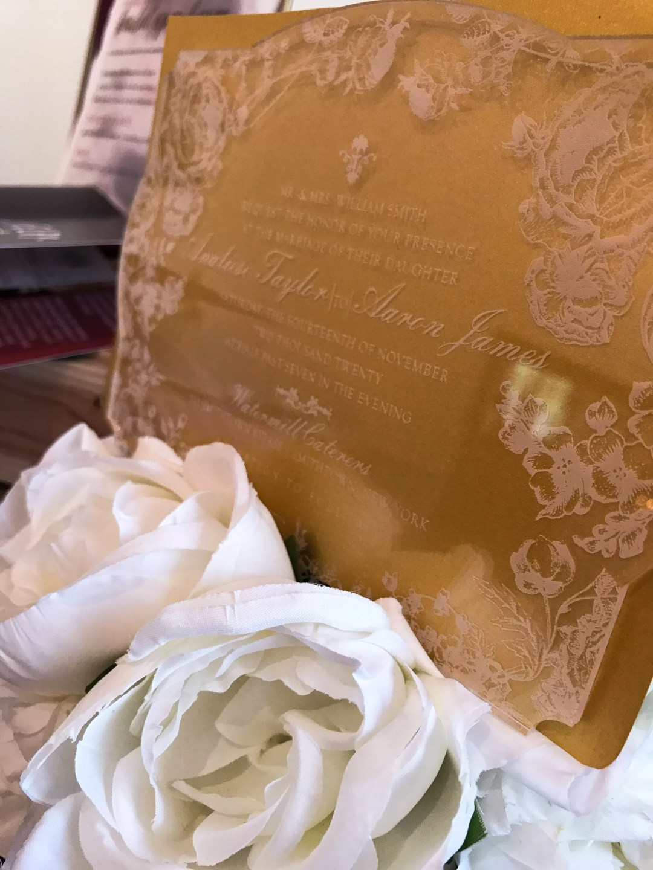 acrylic invitation laser engraved wedding stationery