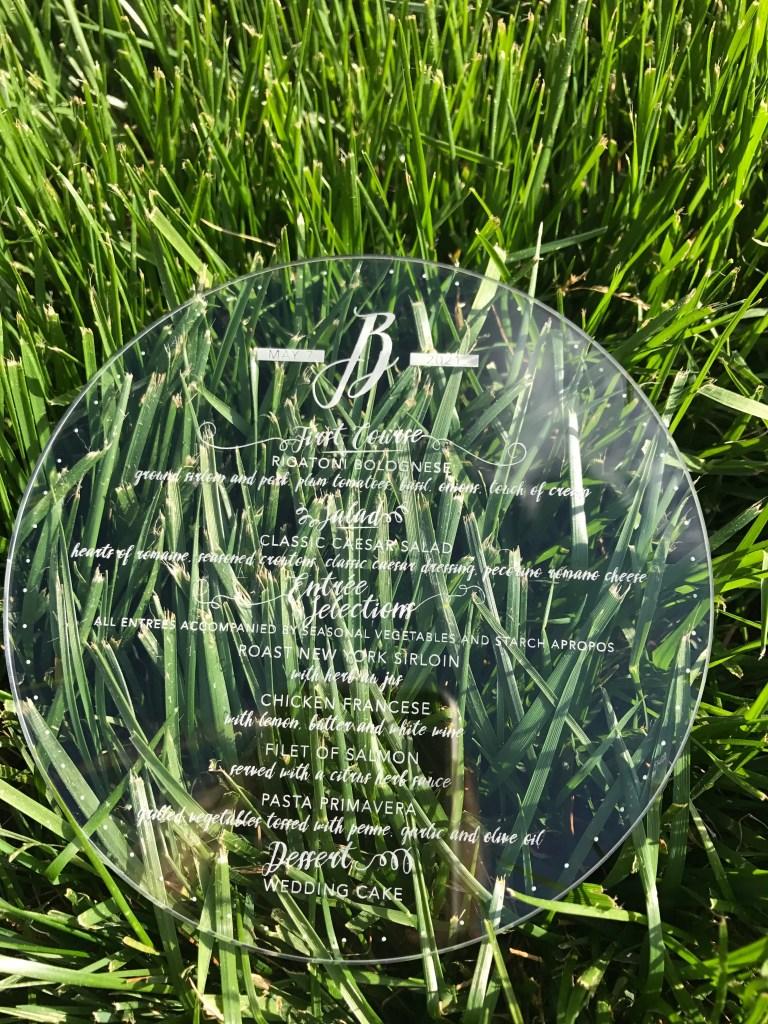 circle wedding menus in plexi or acrylic material, laser engraved