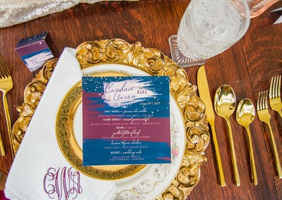 revelry + heart custom dinner menus for beauty and bordeaux styled wedding shoot