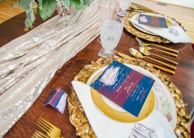 revelry + heart table stationery for beauty and bordeaux styled wedding shoot