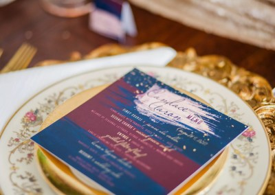 navy, wine and blush square wedding menus by revelry + heart