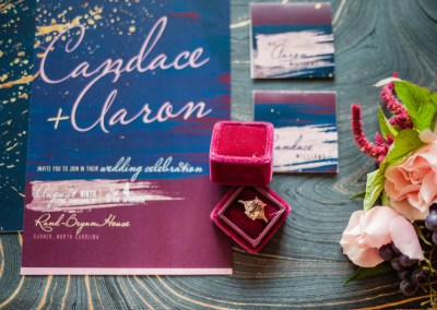 bold invitation suite for beauty and bordeaux styled wedding shoot in raleigh, north carolina