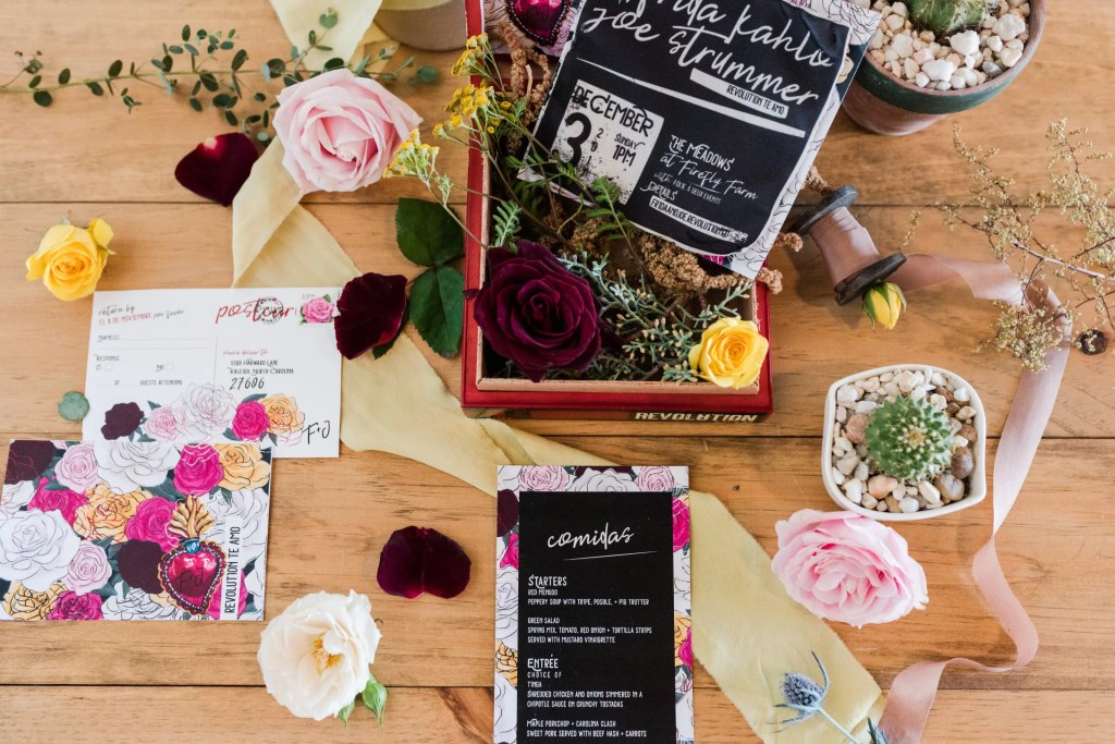 Fabric wedding suite, cigar box, rsvp postcard and menu by revelry + heart