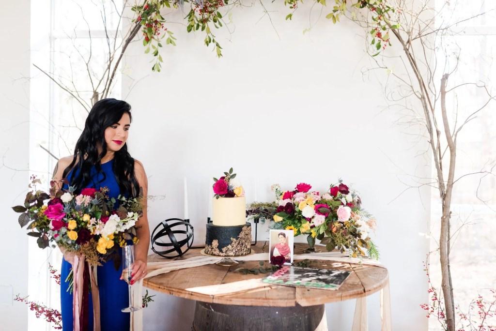 Frida Kahlo wedding shoot-- Frida with punk cake