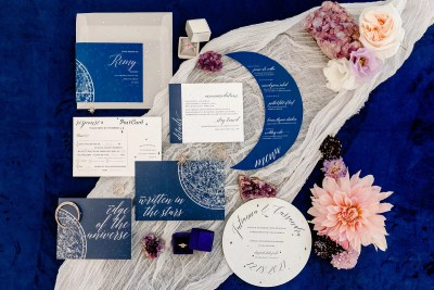 Celestial UV acrylic wedding invitation with map of constellations