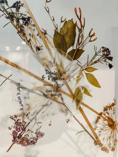 dried floral wedding keepsake art piece