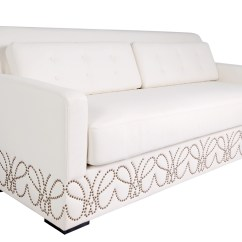 White Leather Sofa With Nailheads Delta Sofabulous Revelry Event Designers