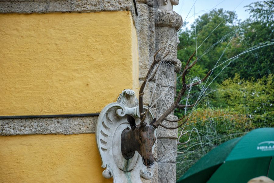 A deer water fountain at Schloss Hellbrunn in Salzburg, Austria.