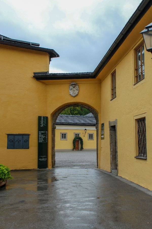 Entrance to Schloss Hellbrunn in Salzburg, Austria.