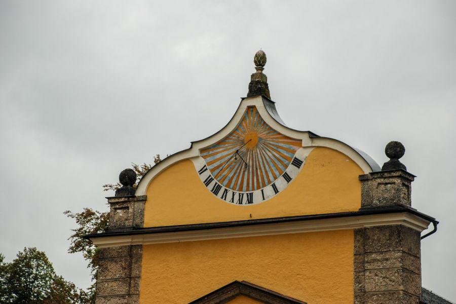 Sundial on a building at Schloss Hellbrunn in Salzburg, Austria.